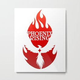 PHOENIX RISING red with flames and star center Metal Print