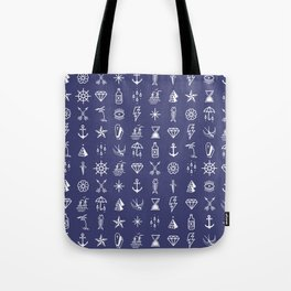 Uncle Knuckles - White on Navy Tote Bag