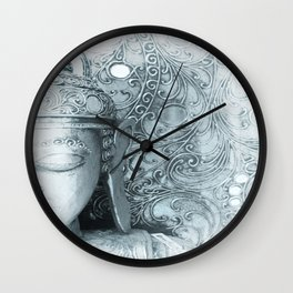 Fade to White Budda Wall Clock