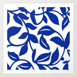 PALM LEAF VINE SWIRL BLUE AND WHITE PATTERN Art Print