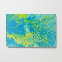 Fluid Art Acrylic Painting, Pour 15, Blue, Yellow & Green Blended Color Metal Print