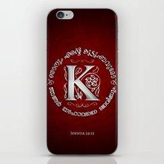 Joshua 24:15 - (Silver on Red) Monogram K iPhone & iPod Skin