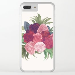 Pink Flowers Painting Clear iPhone Case