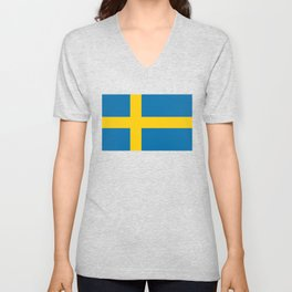 Flag of Sweden - Authentic (High Quality Image) Unisex V-Neck