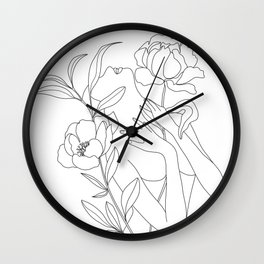 Minimal Line Art Woman with Peonies Wall Clock