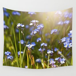 Forget me not flowers in sunlight Wall Tapestry