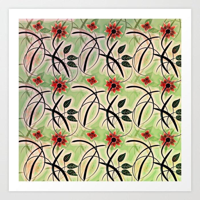 Flower Swirl Pattern Day Art Print