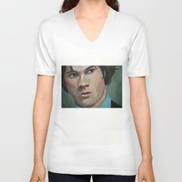 sam winchester V-neck T-shirts featuring Bedtime Stories (Sam Winchester) by Lauren Craig