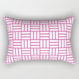 Basketweave (Dark Pink & White Pattern) Rectangular Pillow