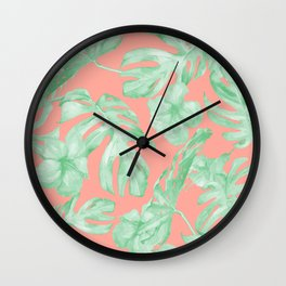 Tropical Palm Leaves Hibiscus Flowers Coral Green Wall Clock