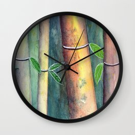 Magical Bamboo Forest Watercolor mixed media Wall Clock