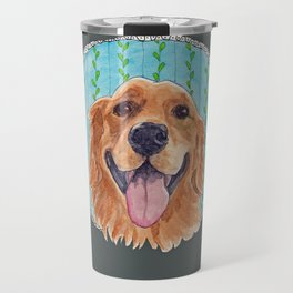 You're Never Fully Dressed without a Smile, Golden Retriever, Whimsical Watercolor Painting, Grey Travel Mug