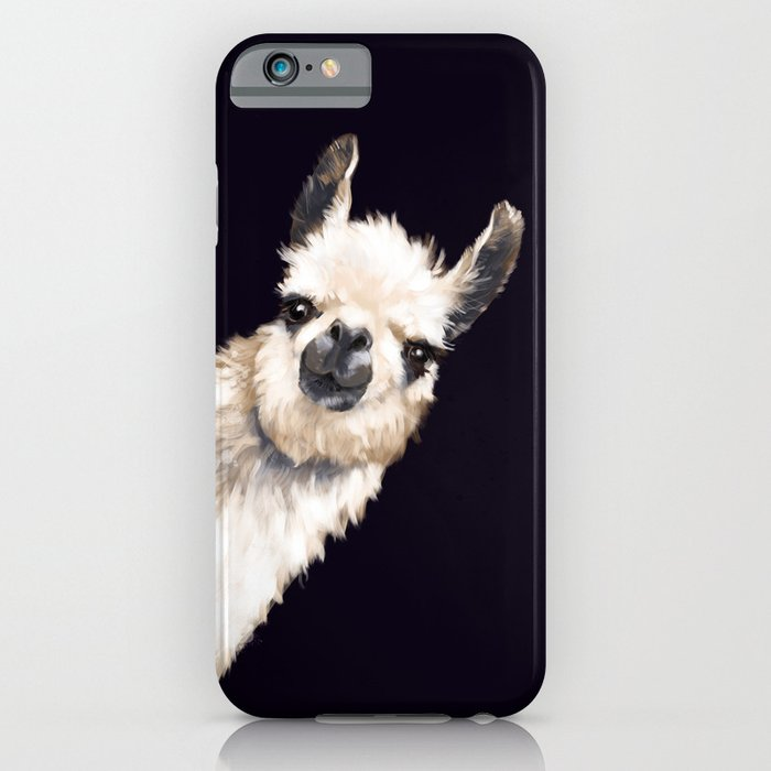 sneaky llama in black iphone case