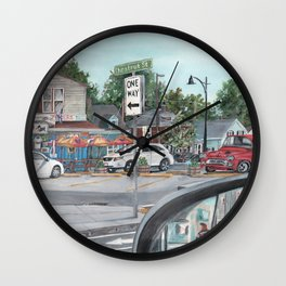 The Scotty Dog Beverly Massachusetts One Way Street Scene Wall Clock