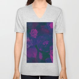 Pink & Purple Roses Unisex V-Neck