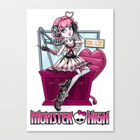 monster high Canvas Prints featuring Monster high print  by Paper cut and Printed with love