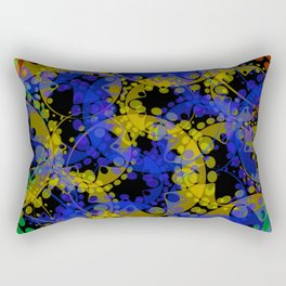 Multicolored delicate pastel blue circles and yellow ellipses depicting abstract ornamental green fl Rectangular Pillow