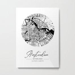 Amsterdam Area City Map, Amsterdam Circle City Maps Print, Amsterdam Black Water City Maps Metal Print