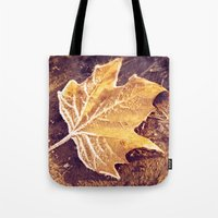 fitzgerald Tote Bags featuring Autumn Frost by Elke Meister