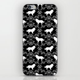Border Collie silhouette minimal floral florals dog breed pet pattern black and white iPhone Skin
