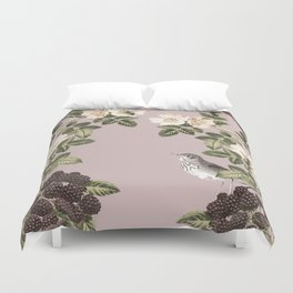 Birds and the Bees Pink Berry Duvet Cover