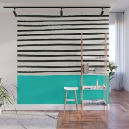 Aqua & Stripes Wall Mural