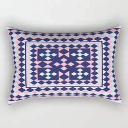 Patchwork Quilt - Pink Blue Navy Rectangular Pillow