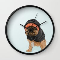 gangster Wall Clocks featuring Gangster Digby by Michele Nicolette