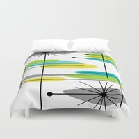mid century modern Duvet Covers featuring Mid-Century Modern Atomic Design by Kippygirl