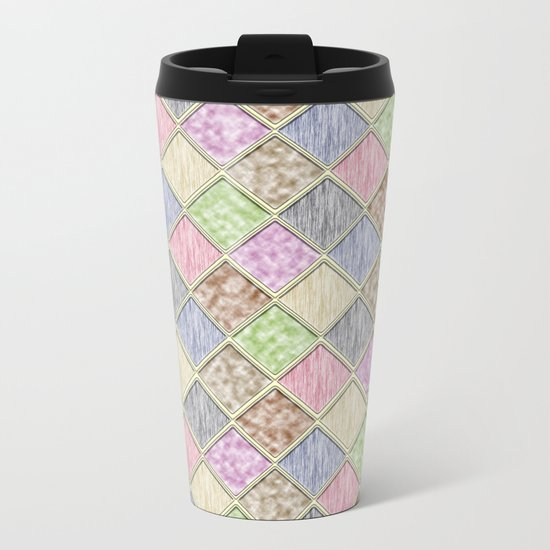 Colorful Seamless Rectangular Geometric Pattern IV Metal Travel Mug