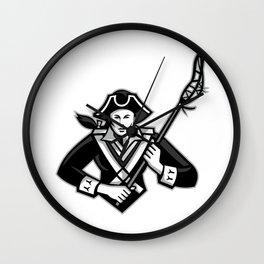Girl Patriot Lacrosse Player Mascot Wall Clock