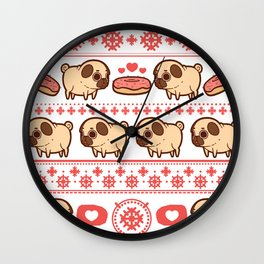 Puglie Christmas Sweater (Red) Wall Clock
