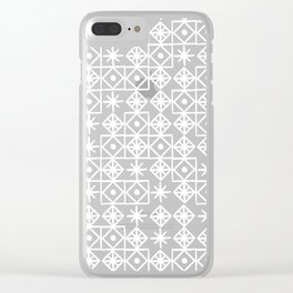Geometric Lace – White on Navy Clear iPhone Case