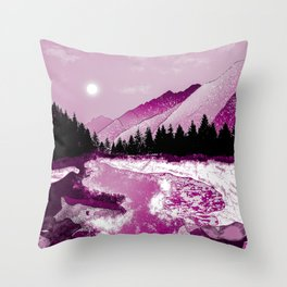 River and rocks Throw Pillow