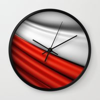 poland Wall Clocks featuring flag of Poland by Lulla