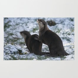 Otters In The Snow Rug