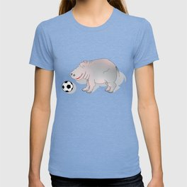 Hippo playing Football T-shirt