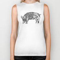 pig Biker Tanks featuring Pig by Rebexi