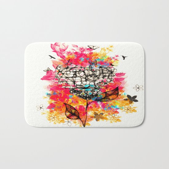 Abstract flower's face, colors Bath Mat
