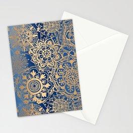 Blue and Gold Mandala Pattern Stationery Cards