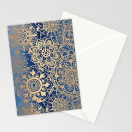 Blue and Gold Mandala Pattern Stationery Cards