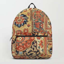 Indian Trellis II // 17th Century Ornate Medallion Red Blue Green Flowers Leaf Colorful Rug Pattern Backpack