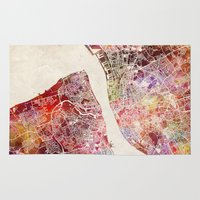 liverpool Area & Throw Rugs featuring Liverpool by MapMapMaps.Watercolors