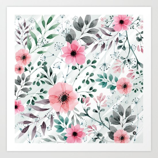 Illustration watercolor flowers and plants Art Print