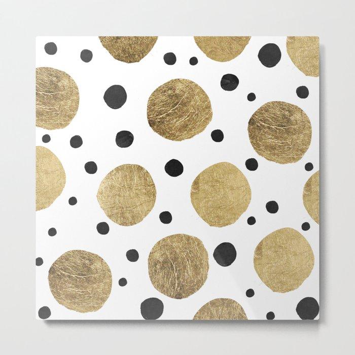 Modern abstract faux gold black watercolor polka dots pattern Metal Print