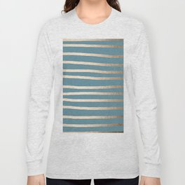 Abstract Drawn Stripes Gold Tropical Ocean Blue Long Sleeve T-shirt