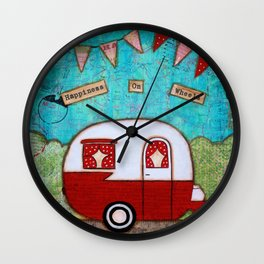 Vintage Camper Red Wall Clock