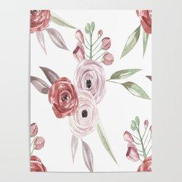 Vintage Floral Pattern Watercolor Poster