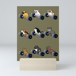 5 plates deadlift Puppies Mini Art Print