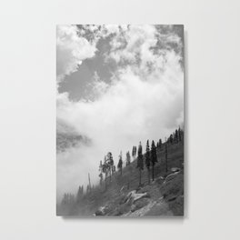 Mountains, Valleys and Forests. Yosemite National Park, Black and White Photography, Clouds and Fog Metal Print